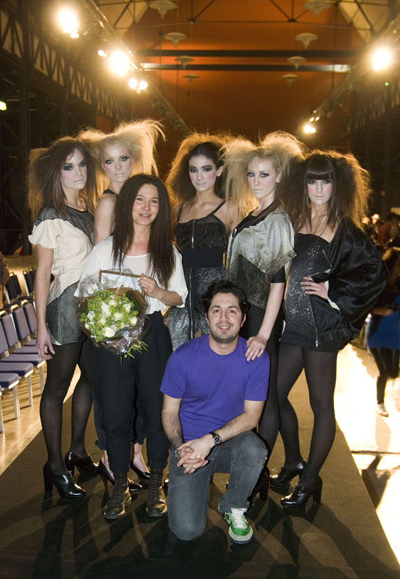 Winner Anna Falck with Ali Davoodi, director Fresh Fish, and models.